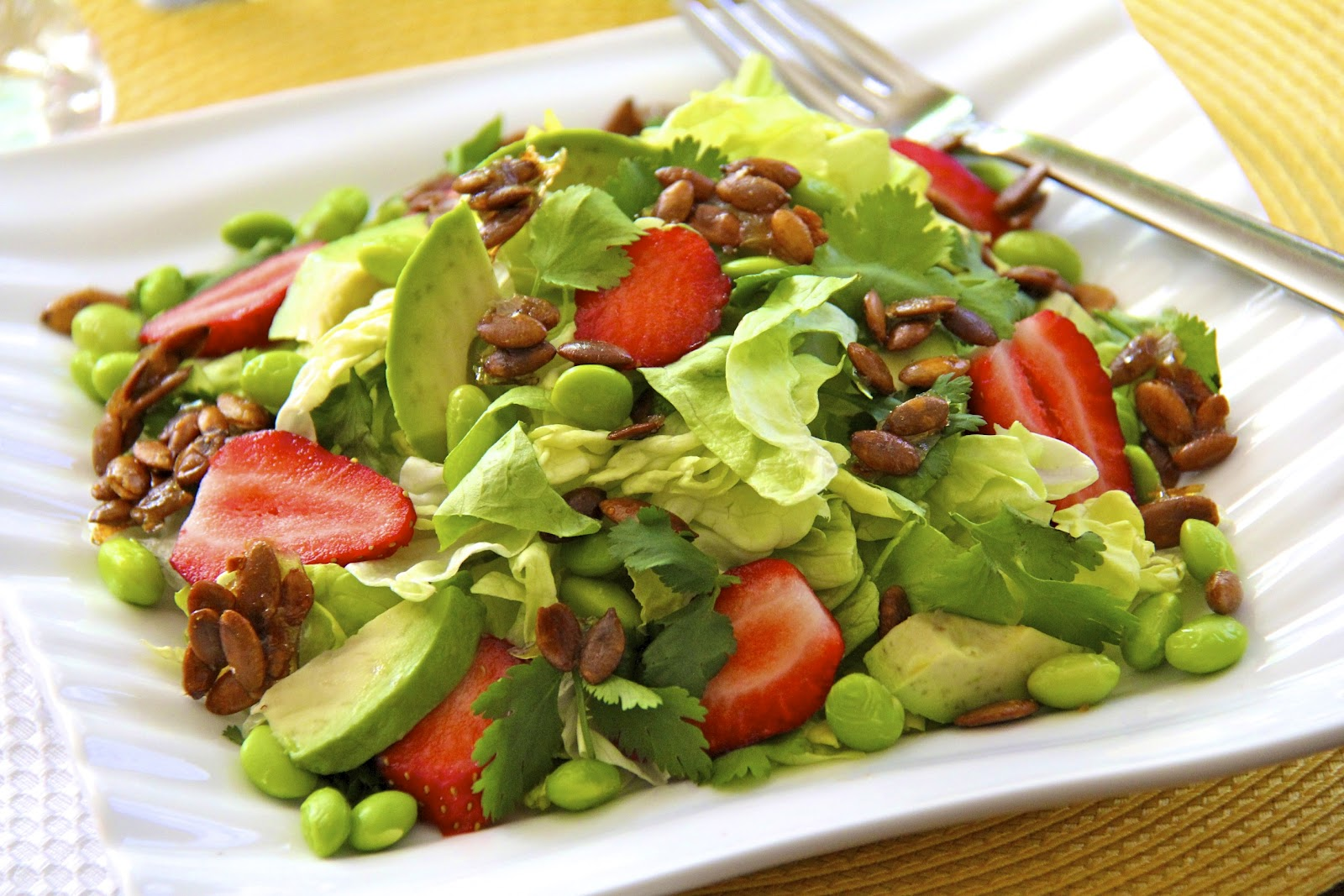 Butter Lettuce Salad w/ Strawberries, Avocado, Edamame ...