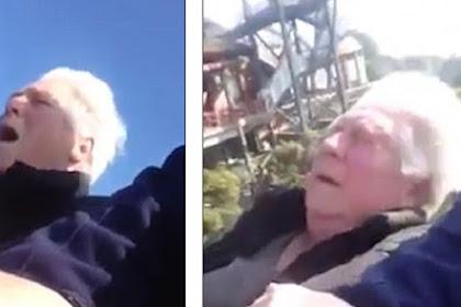 Ekspresi Lucu Saat Nenek Naik Rollercoaster