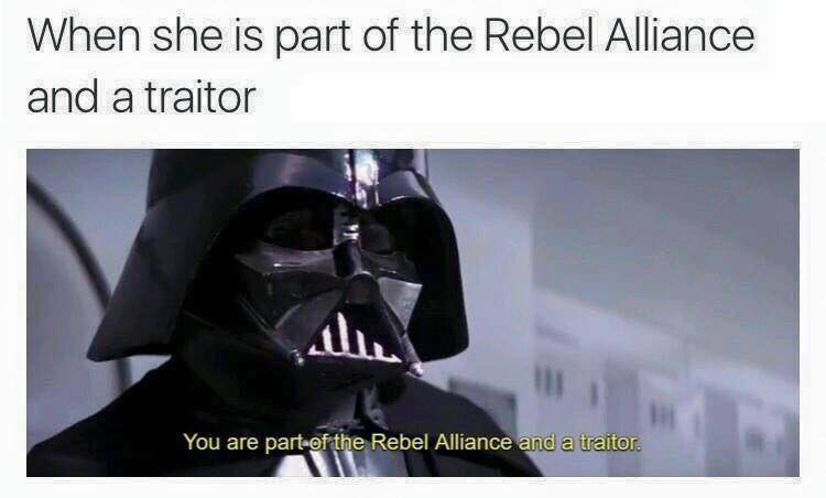 When she is part of the Rebel Alliance meme