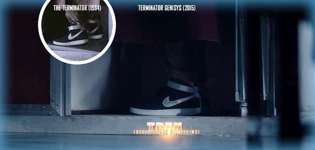 Pantofii sport identici ce apar în Terminator (1984) şi Terminator: Genisys