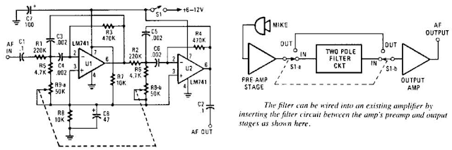 Variable-Frequency Audio Bp Filter Circuit Diagram