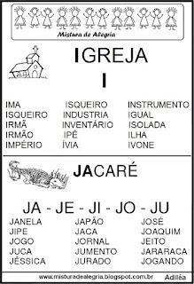 Fichas de leituras letras I-J