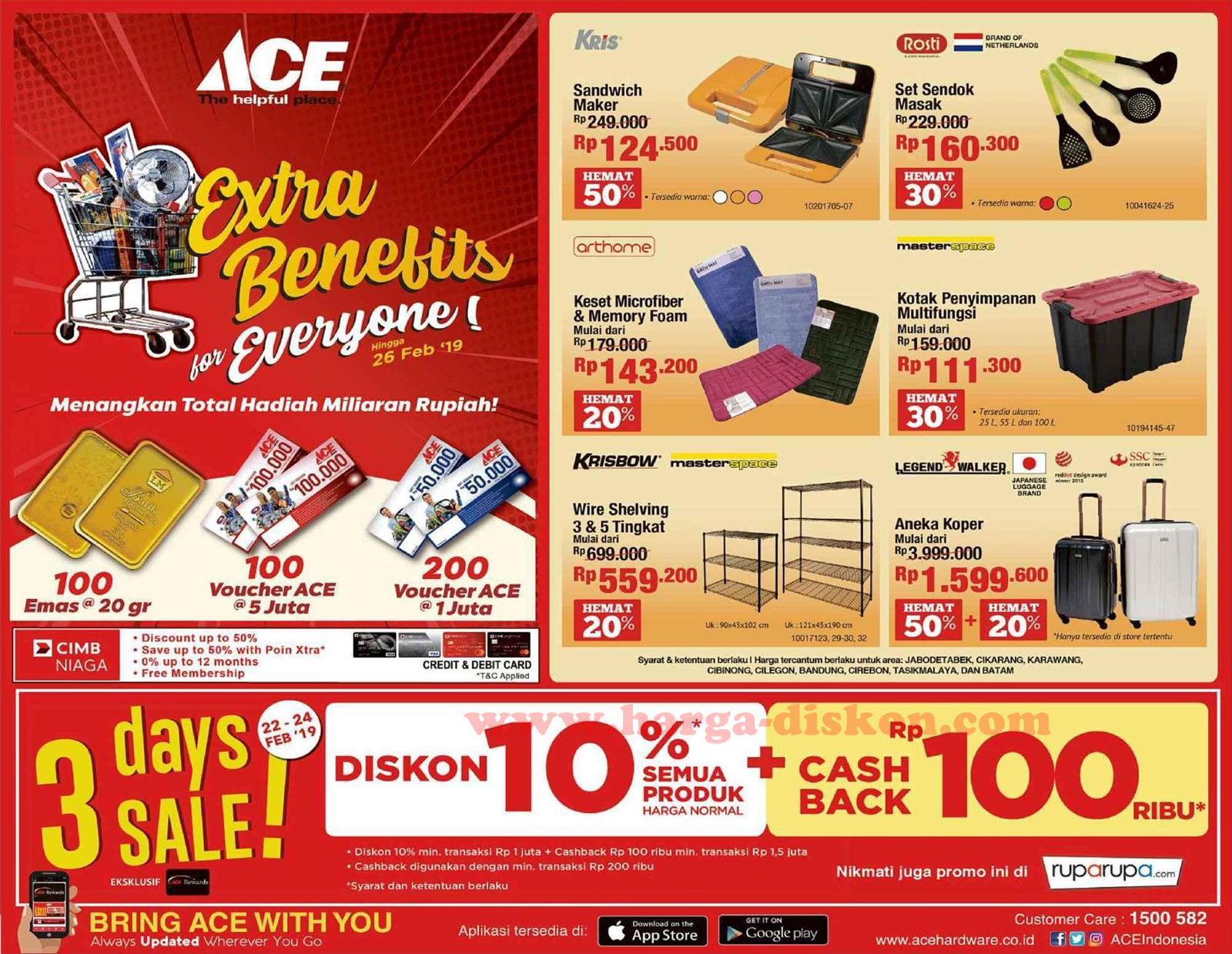 Promo Ace Hardware Terbaru Special Cashback Periode 22 24 Februari 2019 Harga Diskon