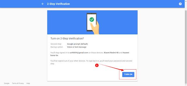 gmail two setp verification