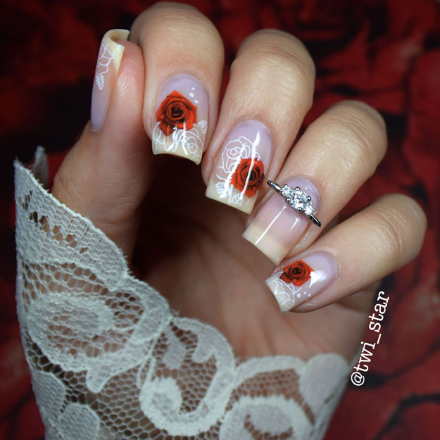 Rose water decals wedding nail art mani