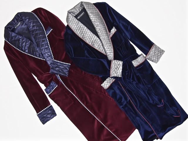 Mens red velvet smoking robe quilted silk dressing gown dark blue gentleman's housecoat