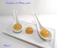 Semiesferas de Mango y Foie