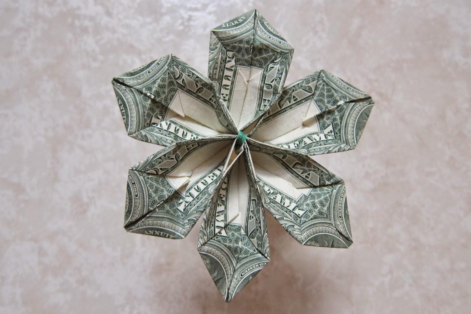 origami money flower ~ origami flower easy - photo#48