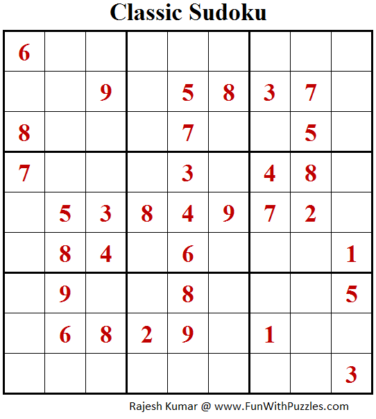 Classic Sudoku Puzzle (Fun With Sudoku #204)