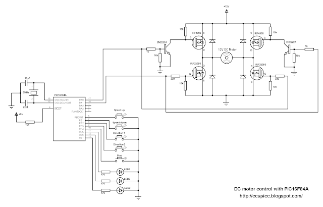 DC motor speed and direction control using PIC16F84A circuit CCS PIC C