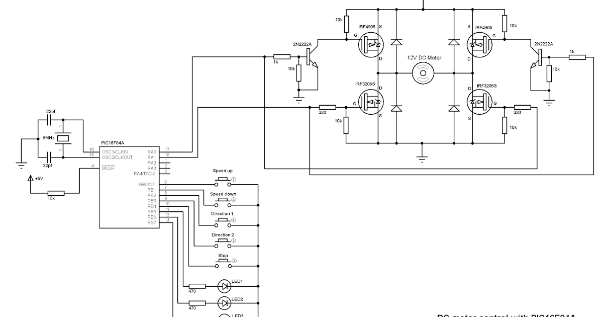 Dc Motor Speed And Direction Control With Pic16f84a Using