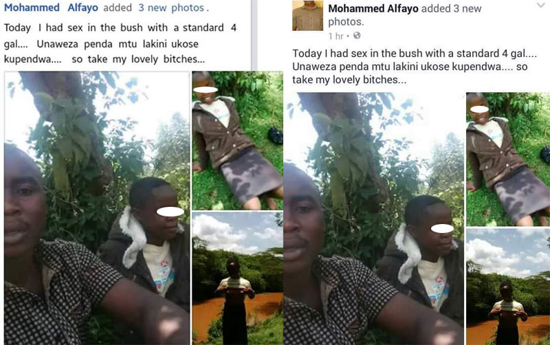 Oh no! Kenyan police officer haves sex with 10-year-old, proudly posts pictures on FB