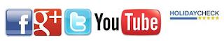 Facebook, Google+, Youtube, Twitter, Instagram, HolidayCheck, TripAdvisor, Xing, Pinterest