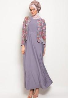 Model gamis batik kombinasi untuk pesta