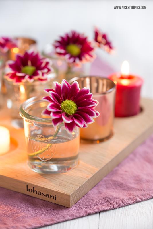 Deko Brett mit Weck Gläsern, Blumen und Teelichtern #herbstdeko
