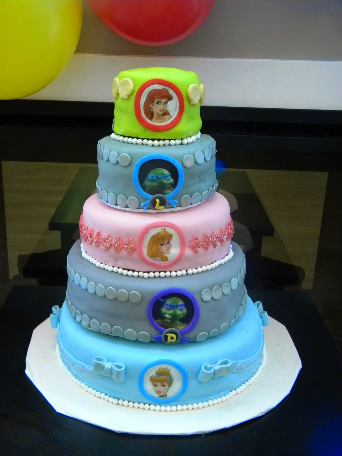 Disney Princess and Teenage Mutant Ninja Turtle Cake