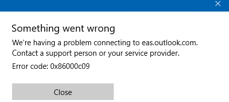 Fix Windows 10 mail app error 0x86000c09