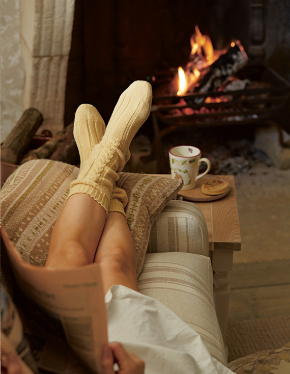 Getting cozy by the fire via Laura Ashley