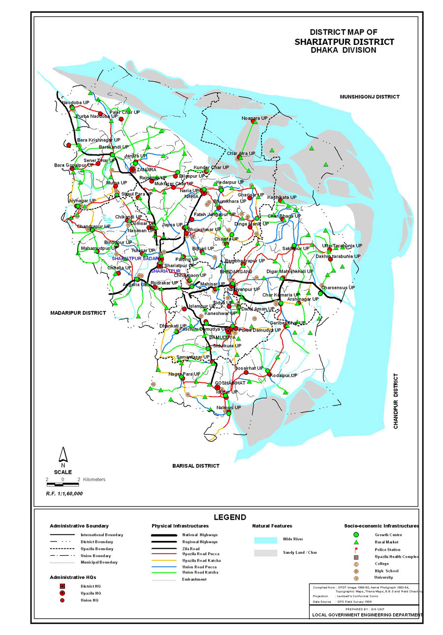 Shariatpur District Map Bangladesh