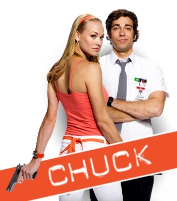 Yvonne Strahovski as Sarah, facing Zachary Levi as Chuck, her back to us but head turned our way in steely-eyed gaze