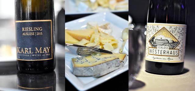 Käse mit Riesling Auslese Weingut Karl May und Spätburgunder Weingut Schloss Westerhaus
