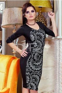 Rochie de seara midi mulata neagra cu dantela aplicata pentru evenimente de iarna