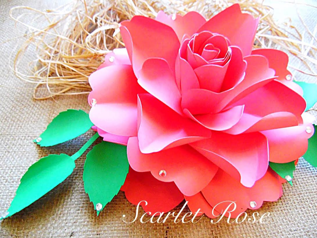 How to make diy paper roses for Big flower paper template