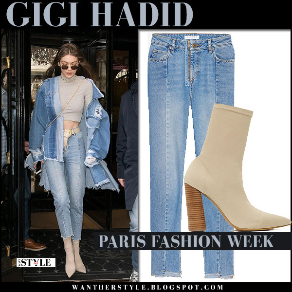 Gigi Hadid in denim jacket, light blue jeans and beige ankle boots tony bianco diddy what she wore paris fashion week model style