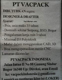 Lowongan Kerja PT. Vackpack Indonesia
