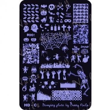 Lacquer Lockdown - Halloween, halloween nail art, halloween nail art stamping plates, nail art, nail art stamping ideas, holiday nail art, Bunny Nails, HD-G, medium sized stamping plates, stamping plates, dancing skeleton, skeletons, zombies