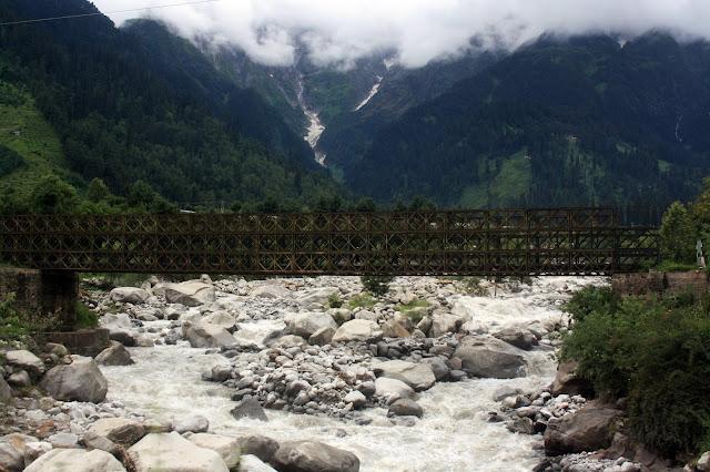 steel, bridge, temporary, beas, river, manali, himachal