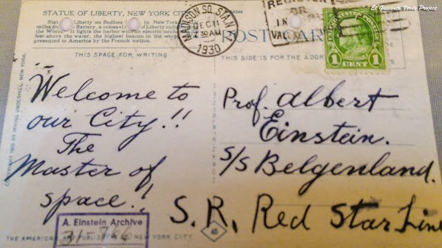 Red Star Line, Postal de bienvenida a Nueva York recibida en el Belgenland por Einstei, por El Guisante Verde Project