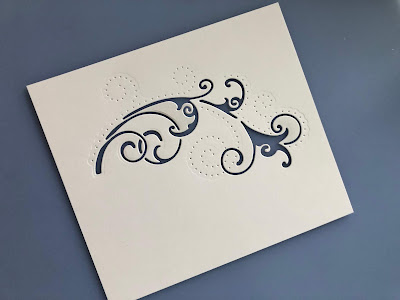 White Card Cut with Dot and Drop Die Arching Twirls