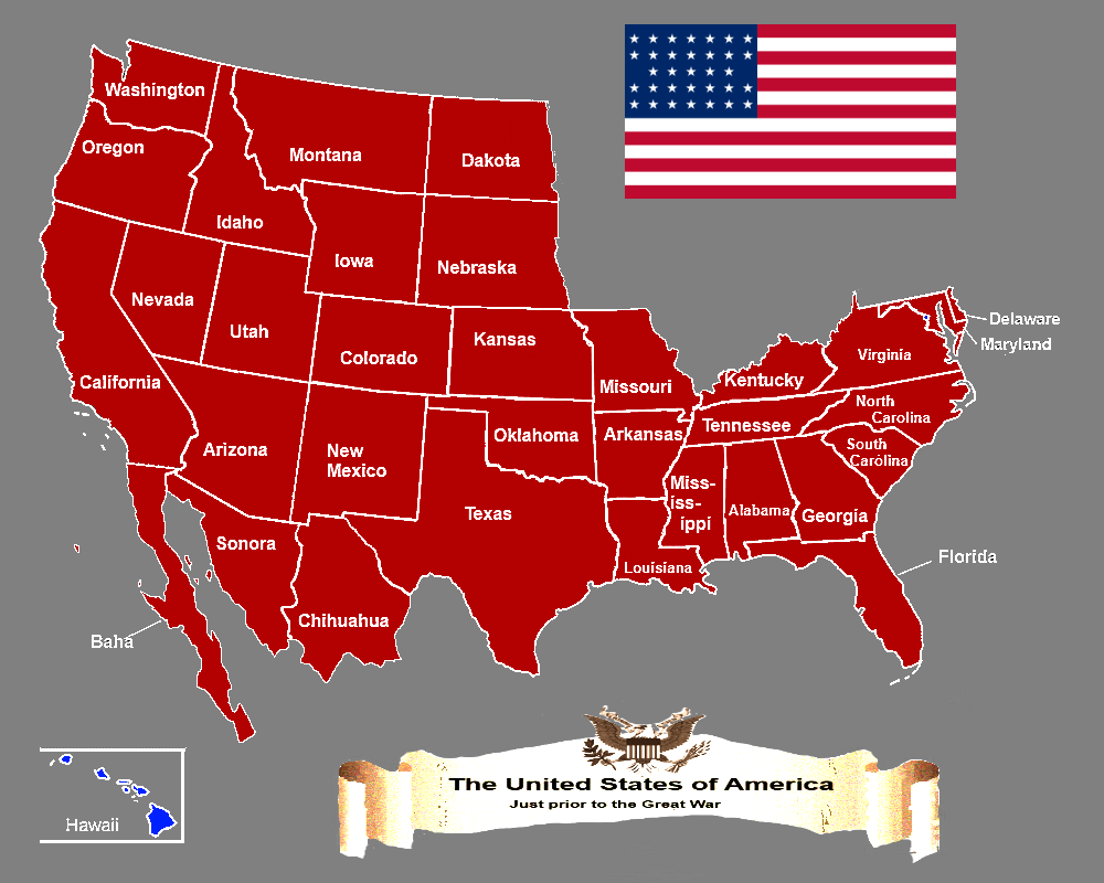 Other Times Map Of The United States Of America Circa 1910