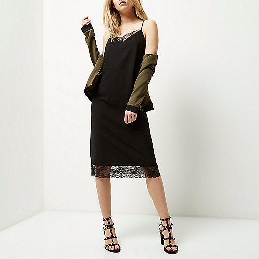 river island black slip dress, black slip dress lace trim