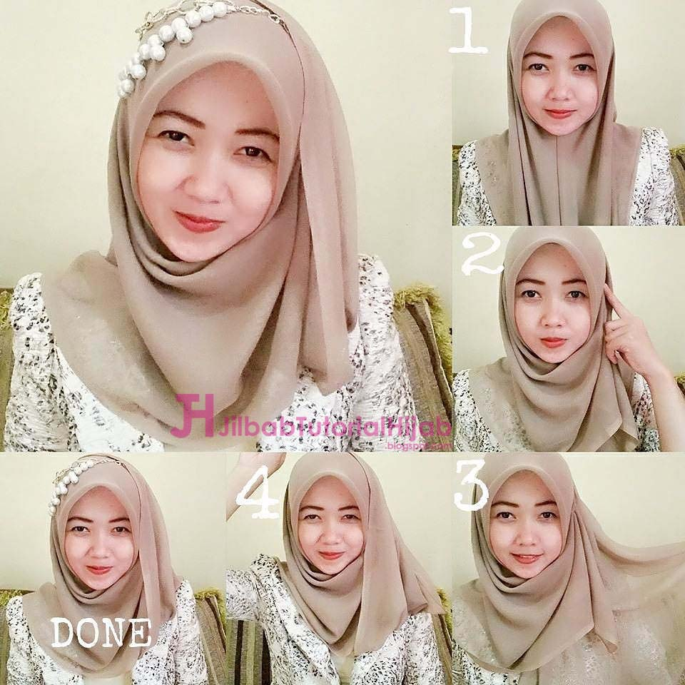 Gambar Tutorial Hijab Resmi Segi Empat  Tutorial Hijab
