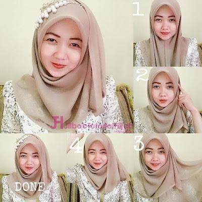 tutorial hijab segi empat modern simple dan modis terbaru