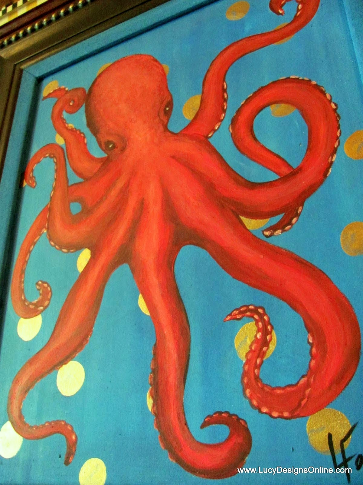 Original Art on Recycled Canvas Hand Painted Octopus and