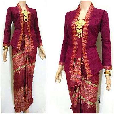 Rok dan Blouse Batik Anisa motif prada merah