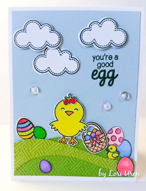 Sunny Studio Stamps: A Good Egg Easter Chick Card by Lori U'ren.