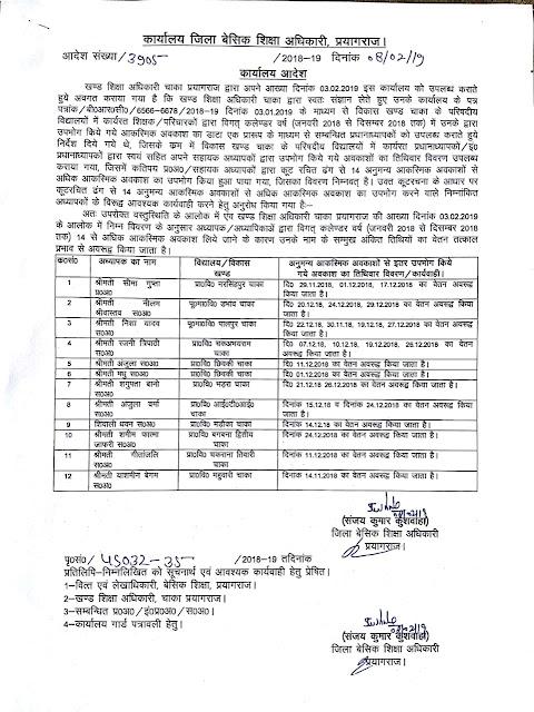 आकस्मिक अवकाश ( basic shiksha parishad teachers casual leave ) 14  से अधिक लेने वाले अध्यापकों का कटा वेतन, आदेश देखें