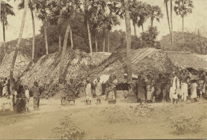 Rural People from South India in front of Huts - 1870's