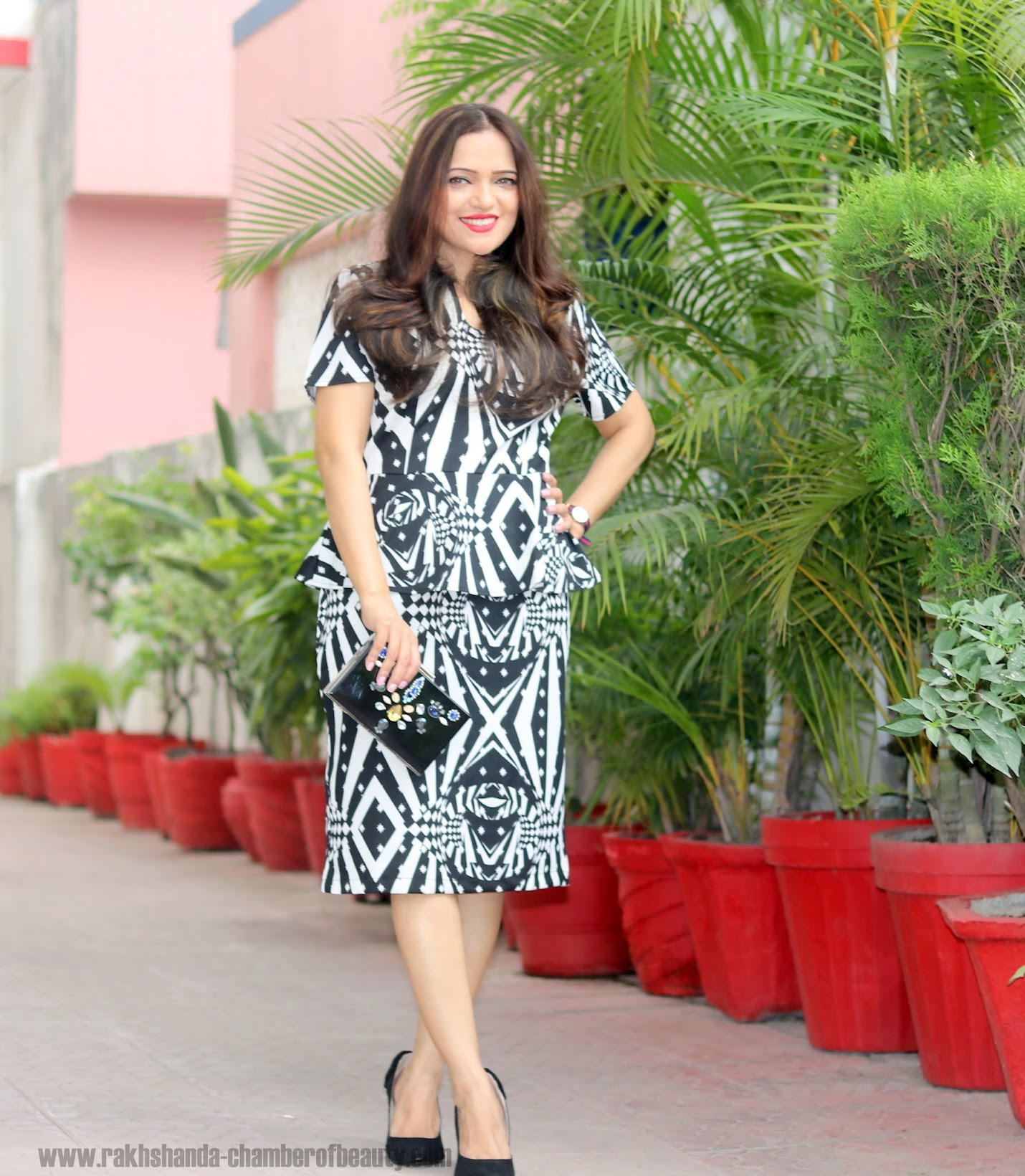 The monochrome fashion trend, Everything5pounds Peplum dress, Indian fashion blogger, Chamber of Beauty