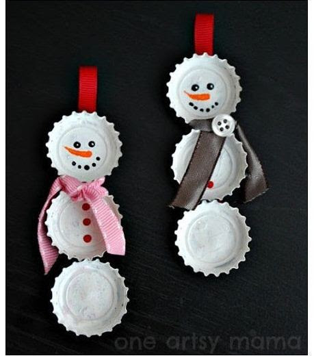 How to Make Snowman from used Bottle cap