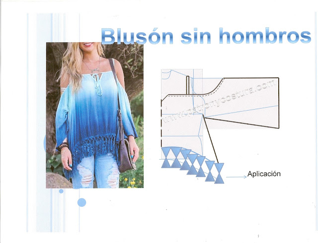 www.patronycostura.com/Blusón sin hombros. Tema 124 diy