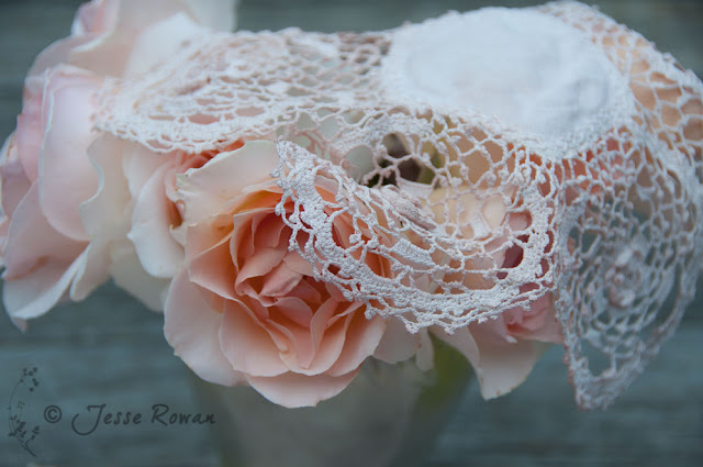 vintage hatbox lid with rose and lace
