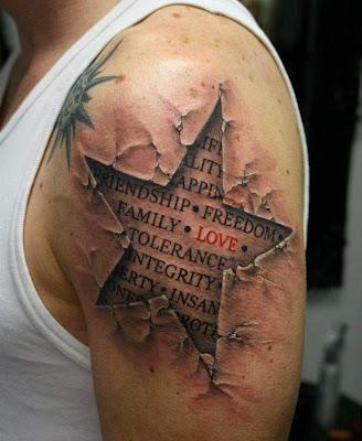 """tatuaje de Estrella con efecto """"craquelado"""" en la piel"""