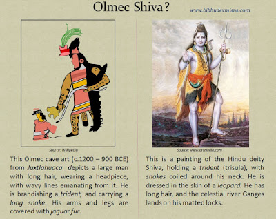 Olmec cave art from Juxtlahuaca depicts a deity or priest resembling the Hindu deity Shiva
