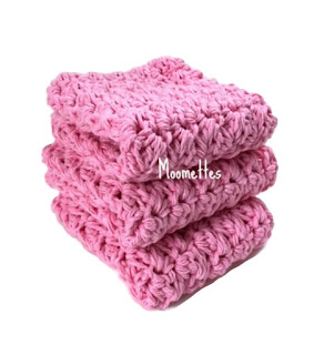 Pink Handmade Cotton Dish Cloths