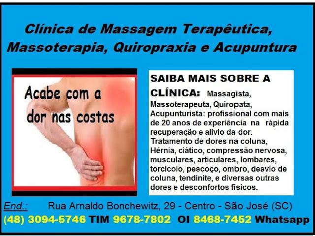 Dores nas Costas, na coluna, nervo ciático - Qual o melhor tratamento?  Em São José SC (48) 3094-5746 - Clínica de Massagem Terapeutica, Massoterapia, Quiropraxia e Acupuntura